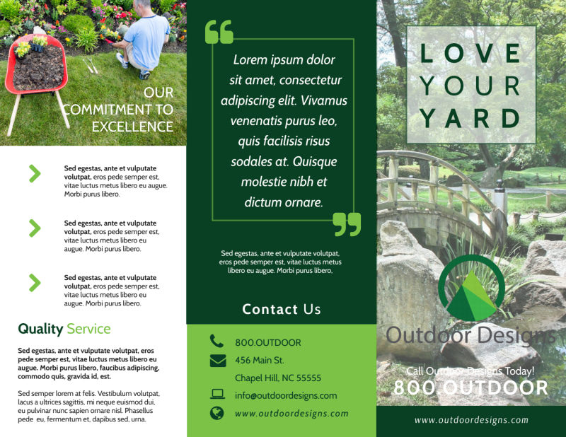 Landscaping Yard Tri-Fold Brochure Template Preview 2