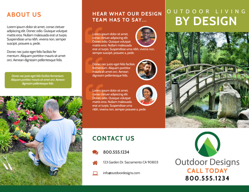 Outdoor Living Tri-Fold Brochure Template Preview 2