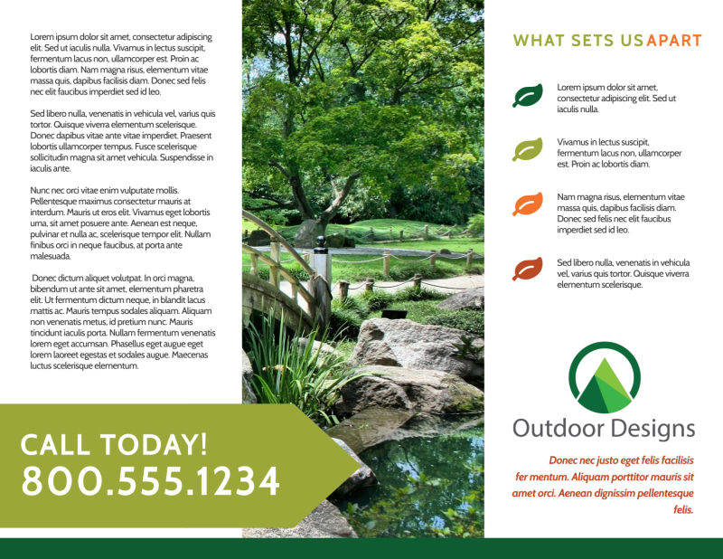 Outdoor Living Tri-Fold Brochure Template Preview 3