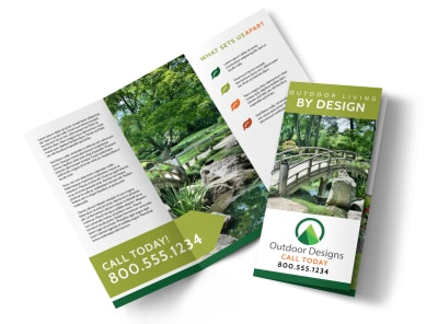 Outdoor Living Tri-Fold Brochure Template preview