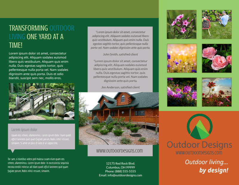 Outdoor Living Design Tri-Fold Brochure Template Preview 2