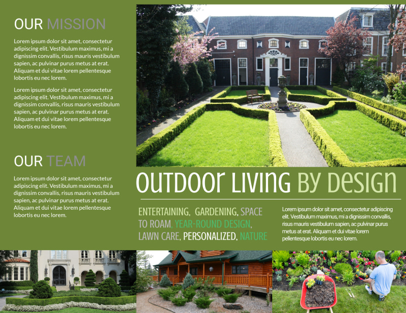 Outdoor Living Design Tri-Fold Brochure Template Preview 3