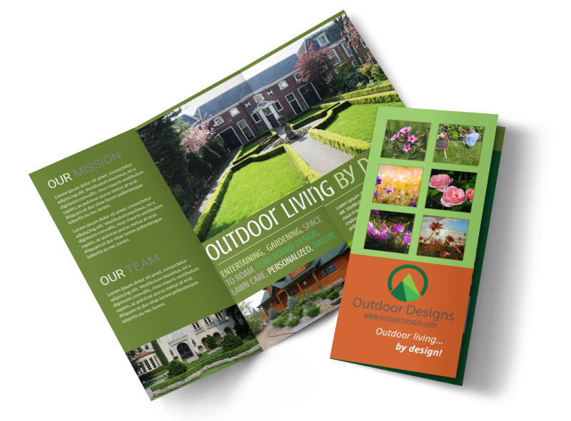 Outdoor Living Design Tri-Fold Brochure Template Preview 1