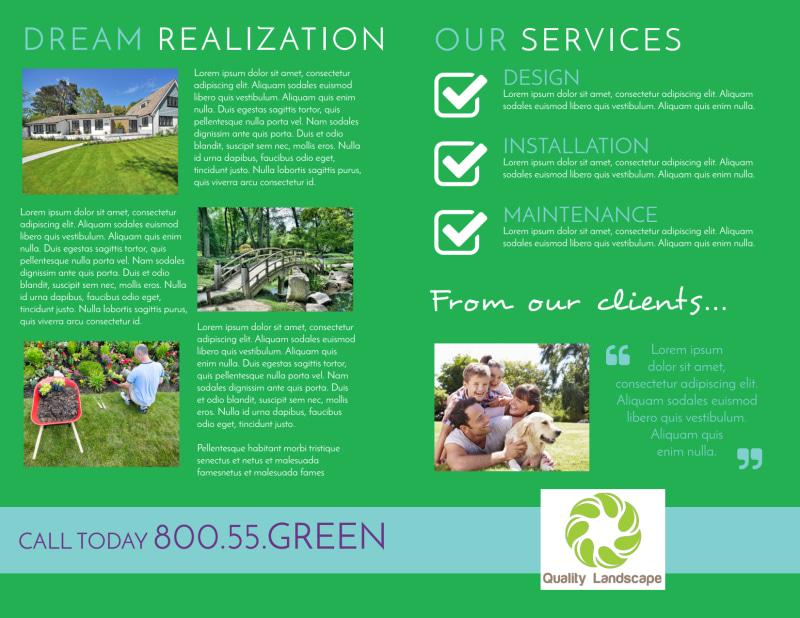 Dream Yard Bi-Fold Brochure Template Preview 3