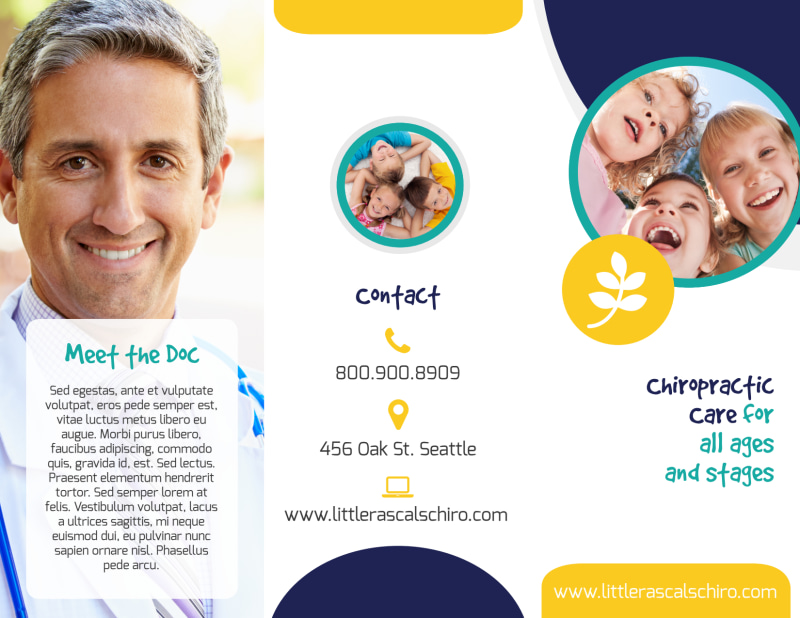 Fun Chiropractic Care Tri-Fold Brochure Template Preview 2