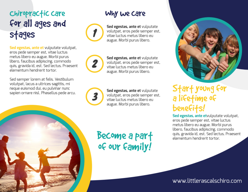 Fun Chiropractic Care Tri-Fold Brochure Template Preview 3
