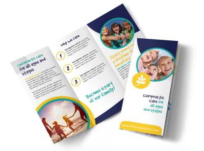 Fun Chiropractic Care Tri-Fold Brochure Template preview