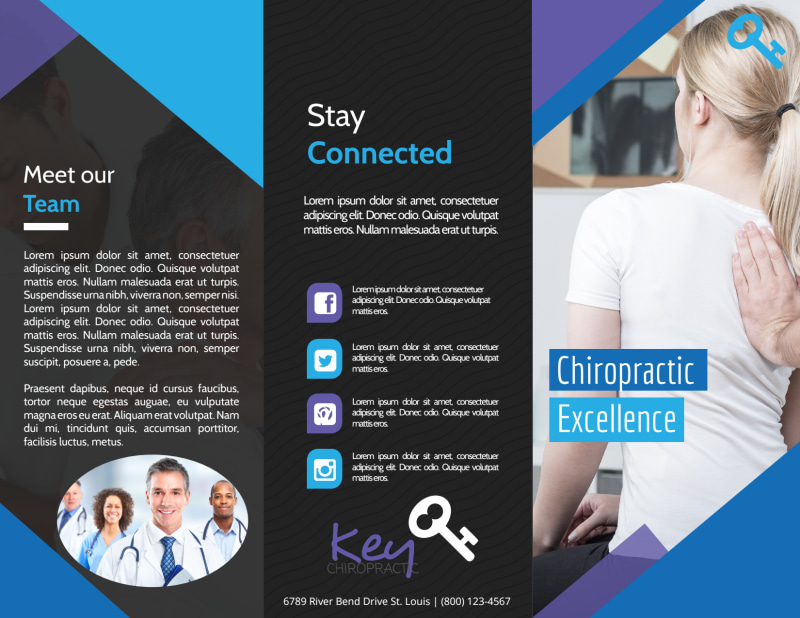 Chiropractic Excellence Tri-Fold Brochure Template Preview 2