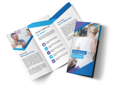 Chiropractic Excellence Tri-Fold Brochure Template preview