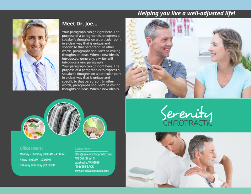 Chiropractic Serenity Bi-Fold Brochure Template Preview 2