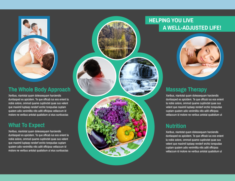 Chiropractic Serenity Bi-Fold Brochure Template Preview 3