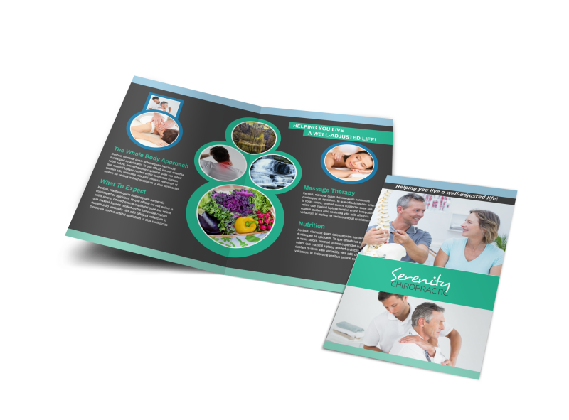 Chiropractic Serenity Bi-Fold Brochure Template Preview 1