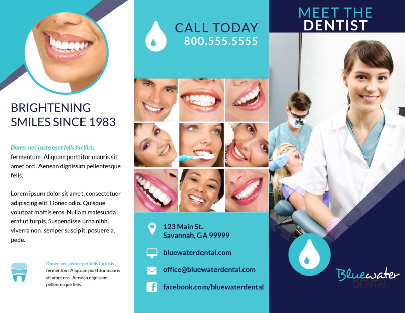 Dental About Our Team Tri-Fold Brochure Template Preview 2
