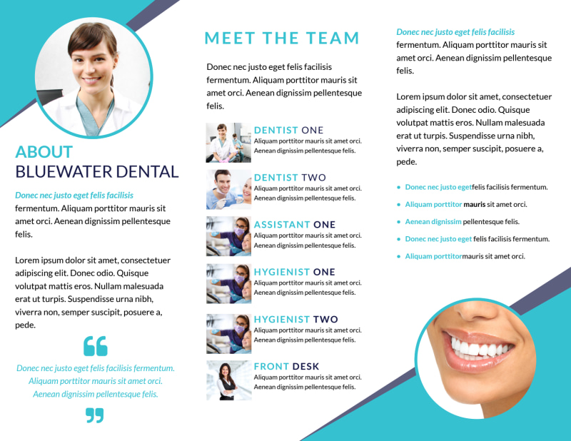 Dental About Our Team Tri-Fold Brochure Template Preview 3