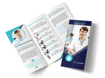 Dental About Our Team Tri-Fold Brochure Template preview