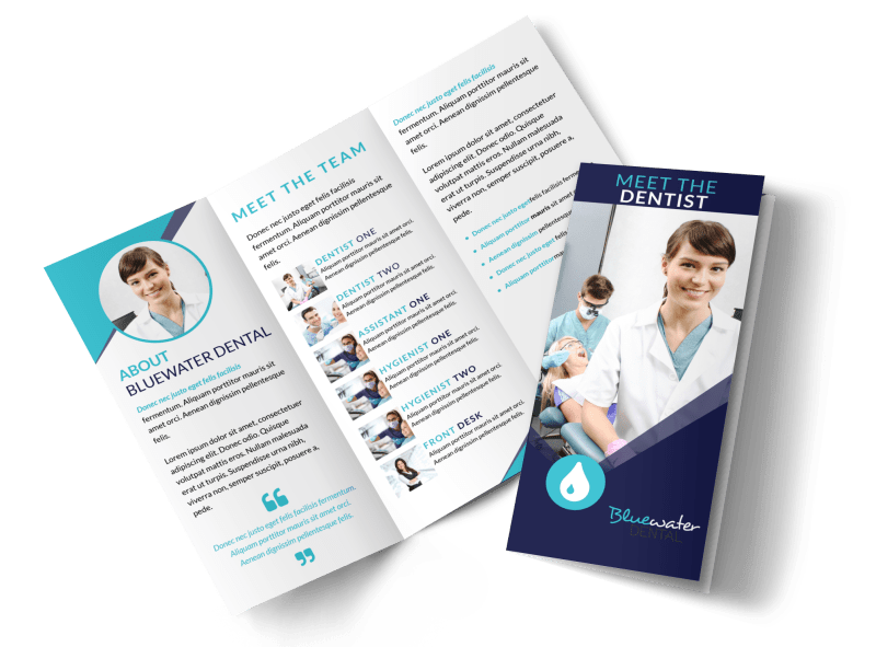 Dental About Our Team Tri-Fold Brochure Template Preview 1