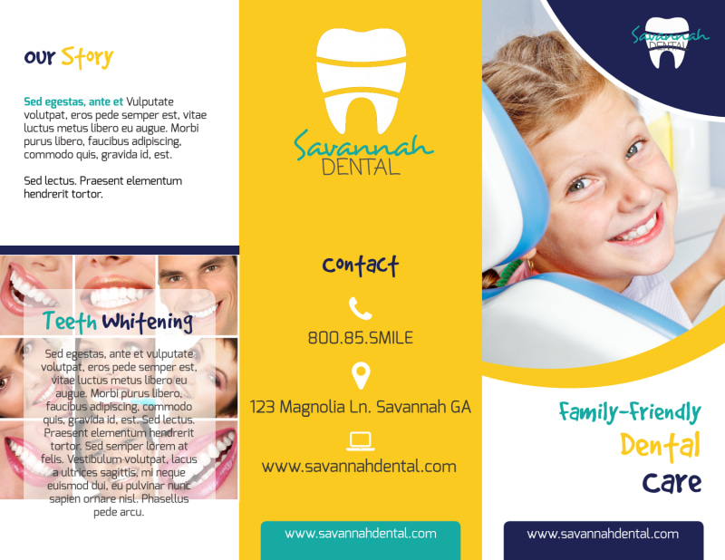 About Us Dental Care Tri-Fold Brochure Template Preview 2