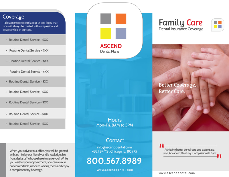 Family Dental Coverage Tri-Fold Brochure Template Preview 2
