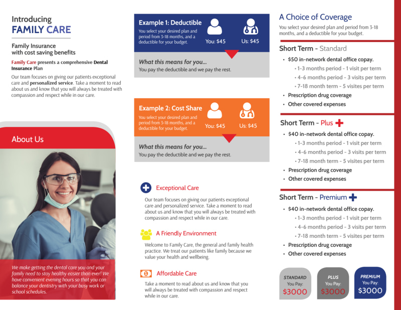 Family Dental Coverage Tri-Fold Brochure Template Preview 3