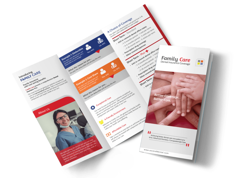 Family Dental Coverage Tri-Fold Brochure Template Preview 1