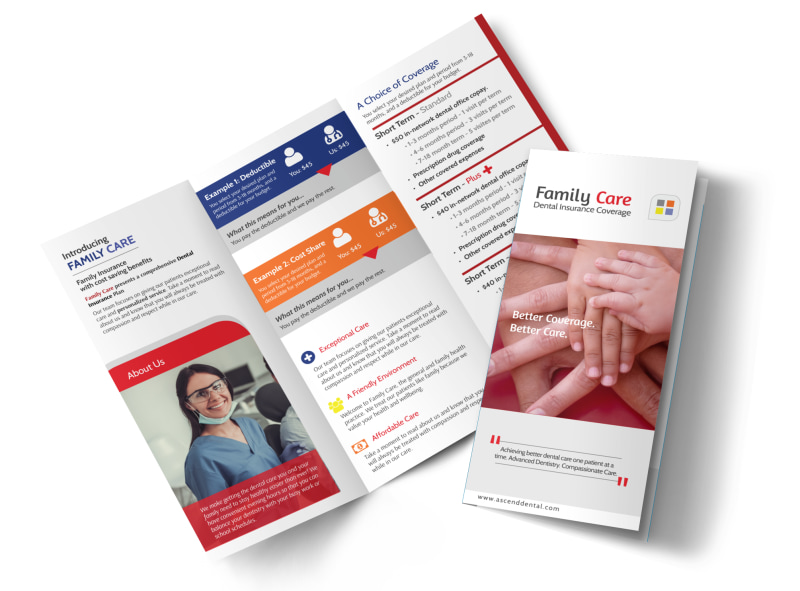 Family Dental Coverage Tri-Fold Brochure Template Preview 4