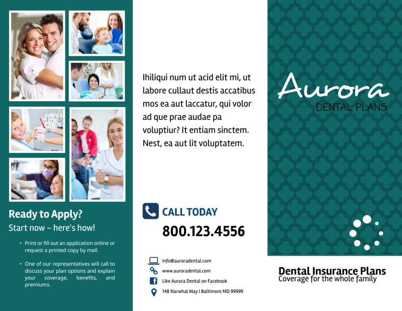 Dental Plan Coverage Tri-Fold Brochure Template Preview 2