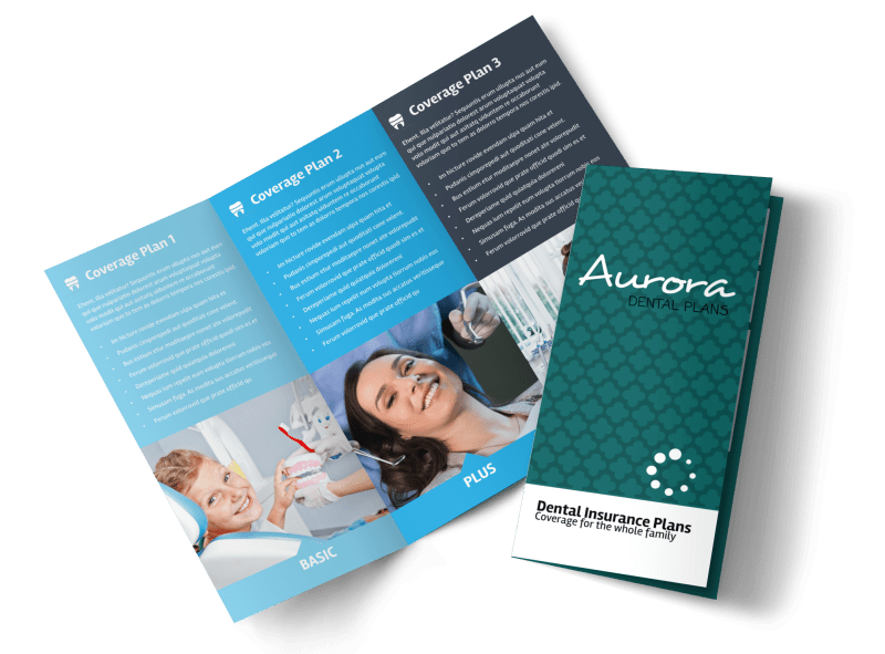 Dental Plan Coverage Tri-Fold Brochure Template Preview 1