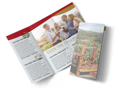 Taste The Vineyard Tri-Fold Brochure Template preview