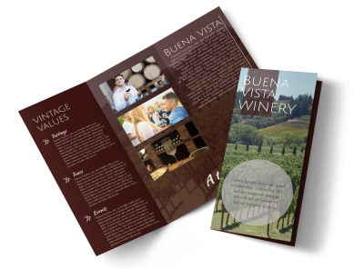 Vista Winery Tri-Fold Brochure Template preview