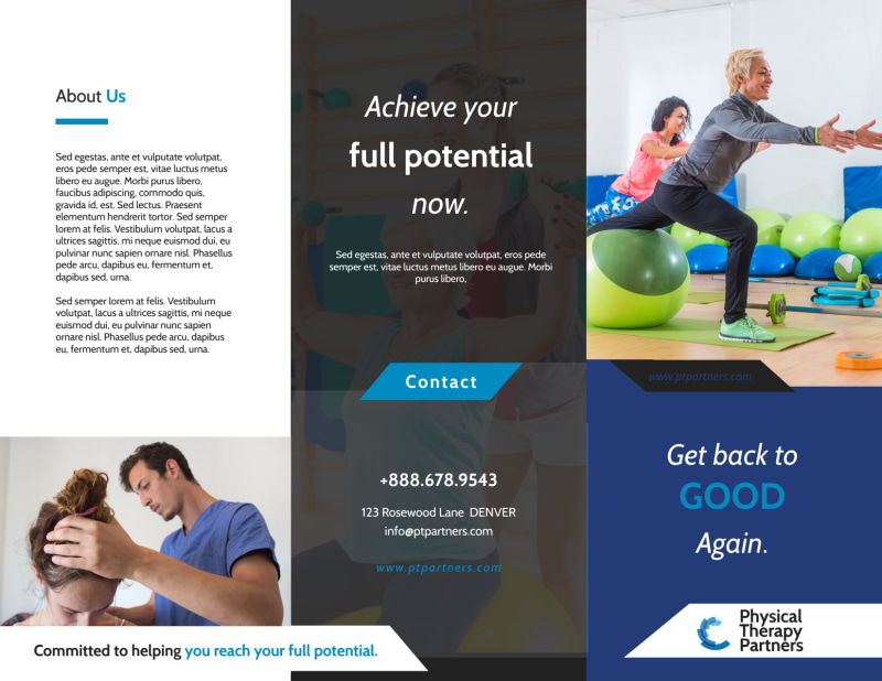 Physical Therapy Pro Tri-Fold Brochure Template Preview 2