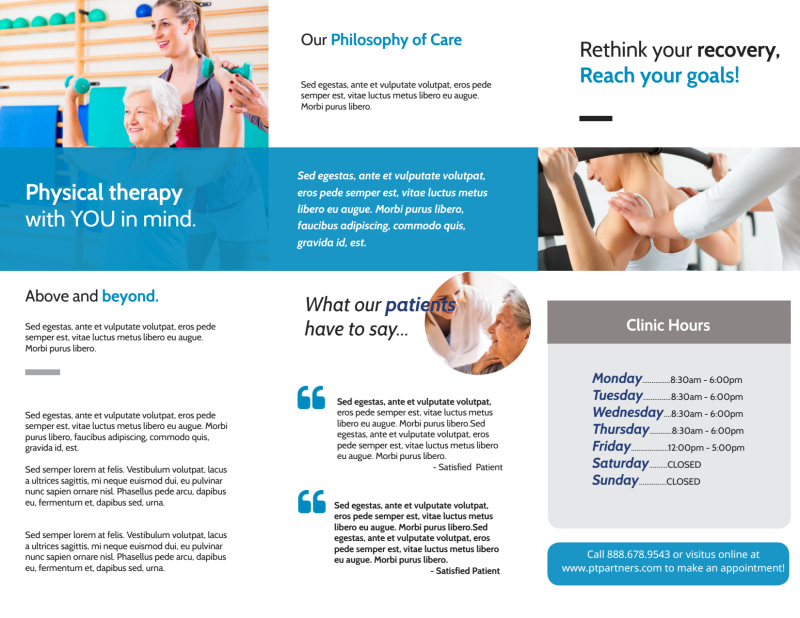 Physical Therapy Pro Tri-Fold Brochure Template Preview 3