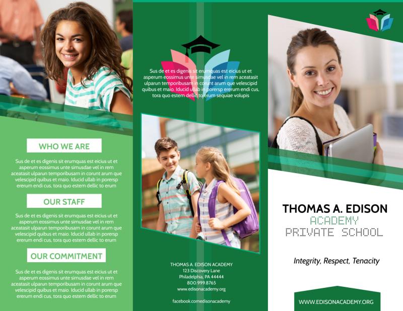 Private School Tri-Fold Brochure Template Preview 2