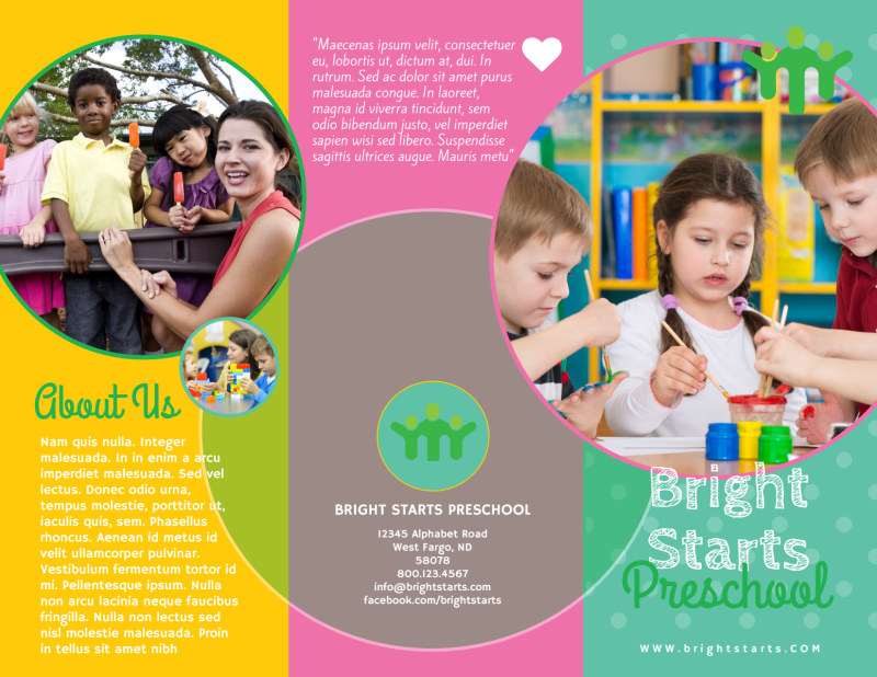 Bright Preschool Tri-Fold Brochure Template Preview 2