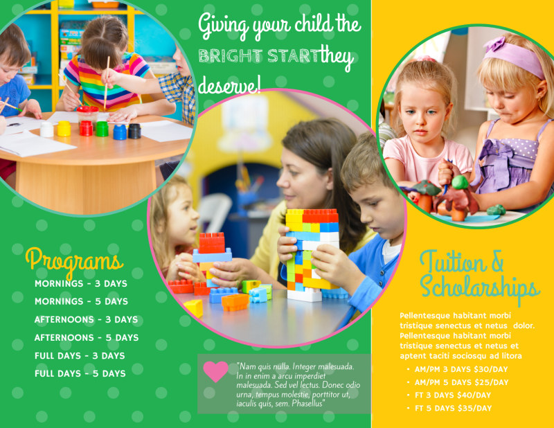 Bright Preschool Tri-Fold Brochure Template Preview 3