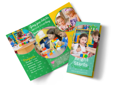 Bright Preschool Tri-Fold Brochure Template preview