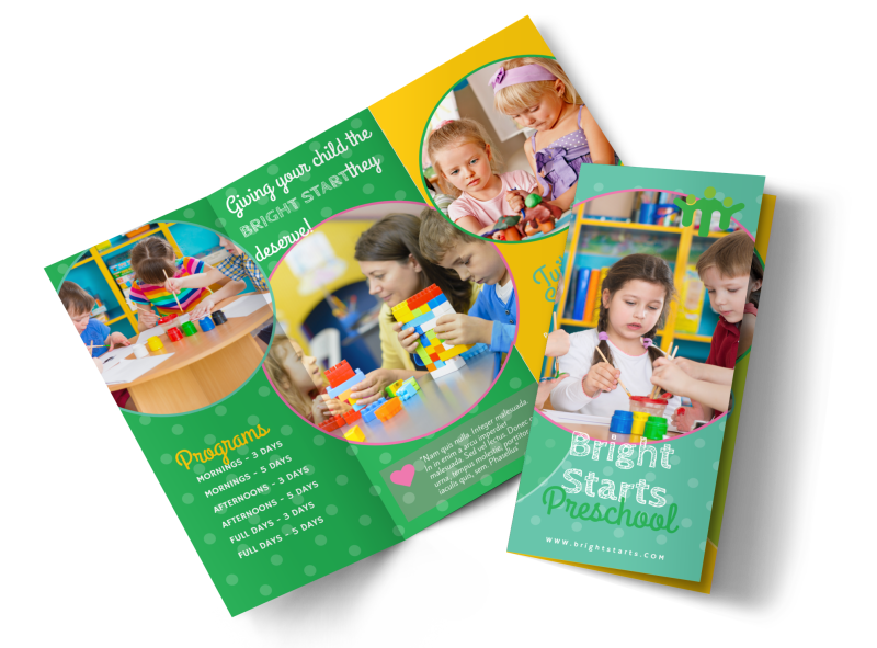 Bright Preschool Tri-Fold Brochure Template Preview 1