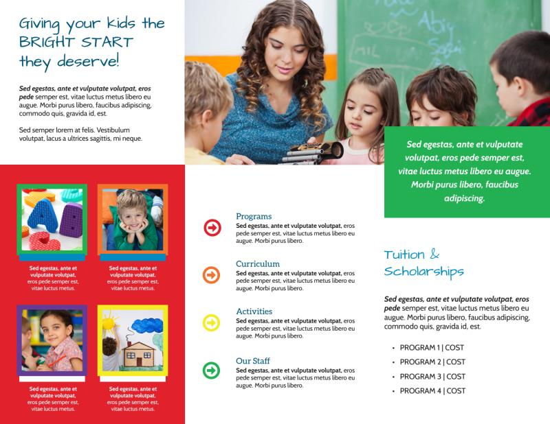 Bright Start Preschool Tri-Fold Brochure Template Preview 3