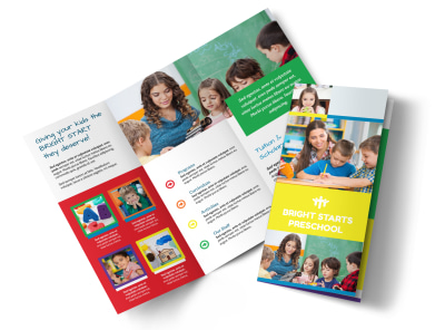 Bright Start Preschool Tri-Fold Brochure Template preview