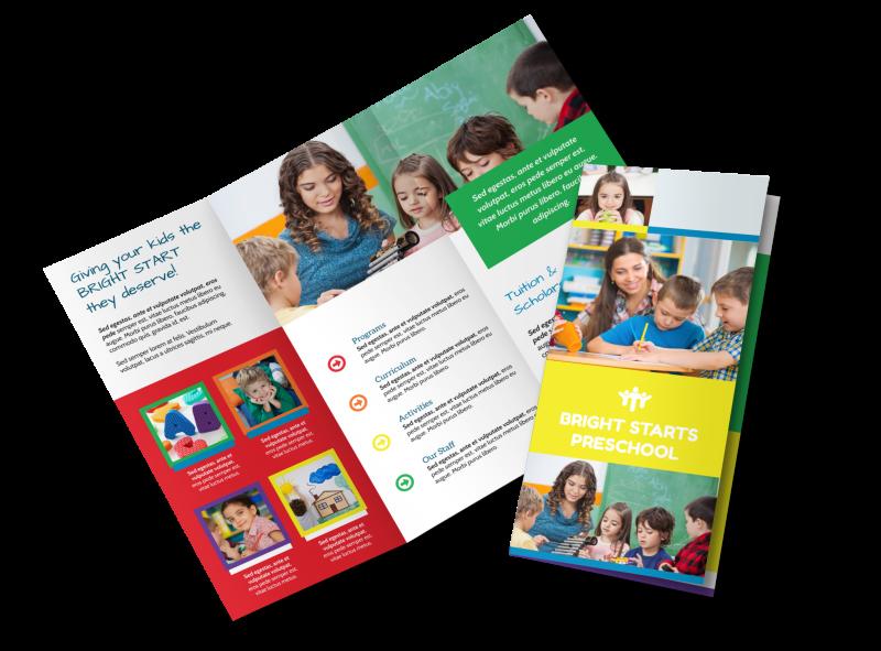 Bright Start Preschool Tri-Fold Brochure Template Preview 1