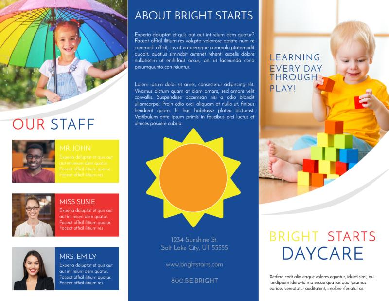 Bright Daycare Tri-Fold Brochure Template Preview 2