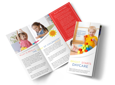 Bright Daycare Tri-Fold Brochure Template preview