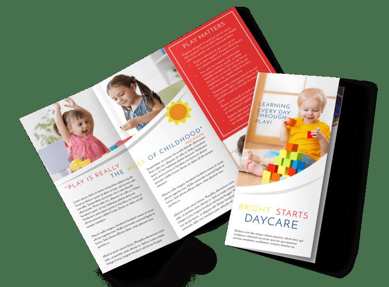 Bright Daycare Tri-Fold Brochure Template Preview 1