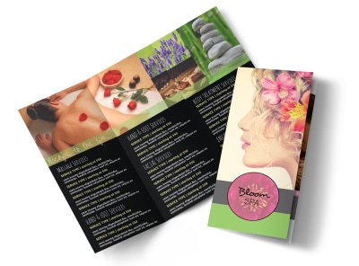 Spa Services Tri-Fold Brochure Template preview