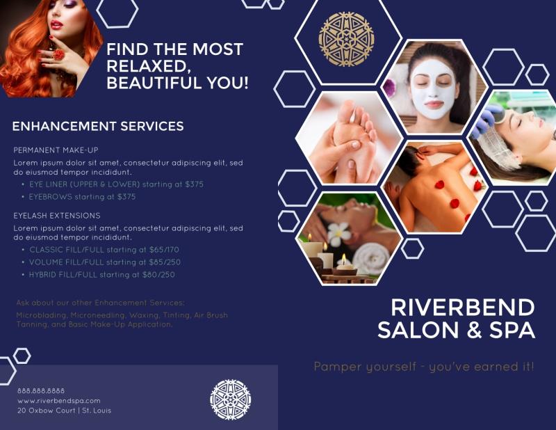 Spa Salon Menu Bi-Fold Brochure Template Preview 2
