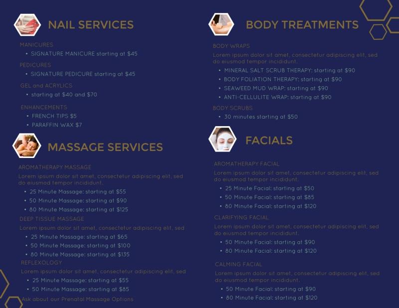 Spa Salon Menu Bi-Fold Brochure Template Preview 3