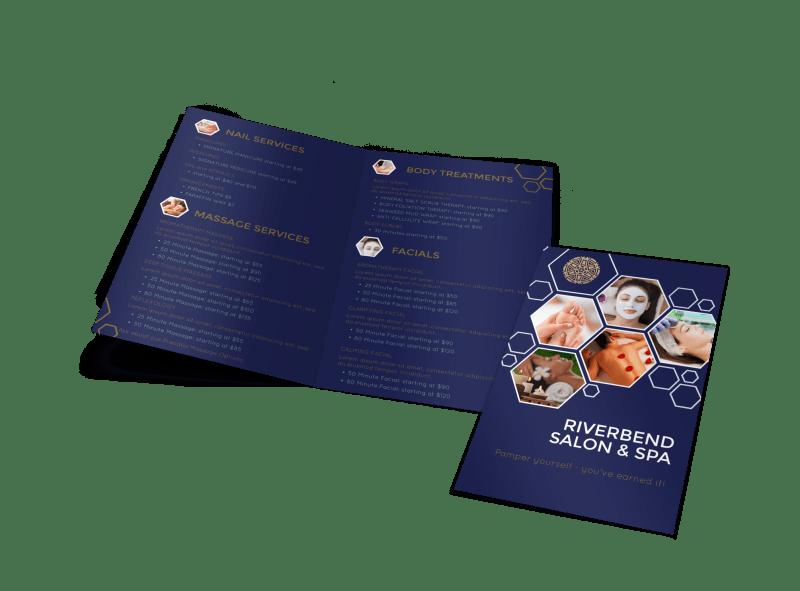 Spa Salon Menu Bi-Fold Brochure Template Preview 1