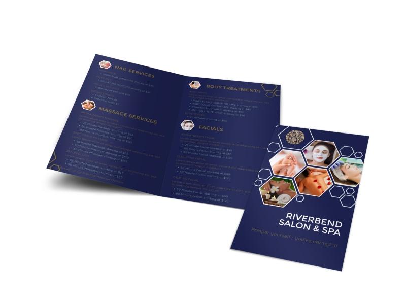 Spa Salon Menu Bi-Fold Brochure Template Preview 4