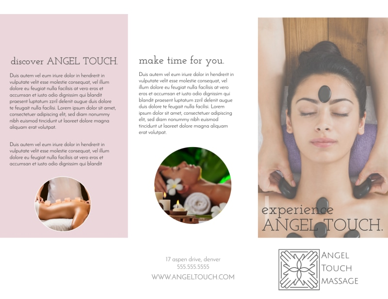 Angel Touch Massage Spa Tri-Fold Brochure Template Preview 2