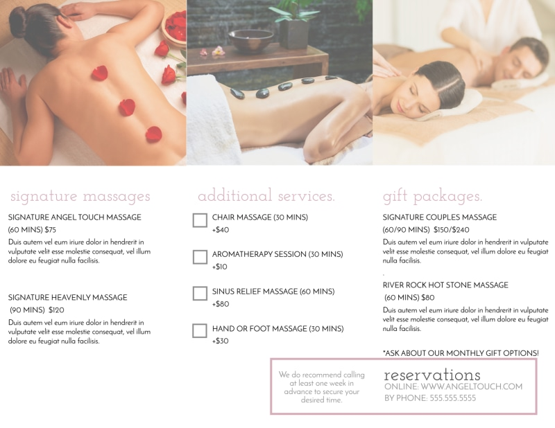 Angel Touch Massage Spa Tri-Fold Brochure Template Preview 3