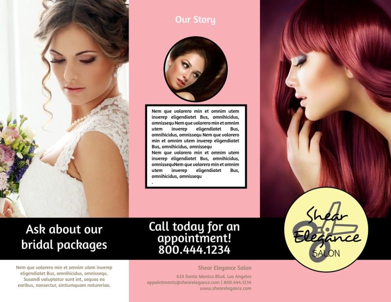 Hair Salon Style Tri-Fold Brochure Template Preview 2